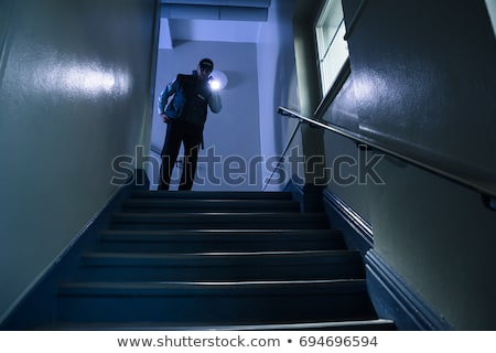 Male Security Guard Standing On Staircase Holding Flashlight Stock photo © AndreyPopov