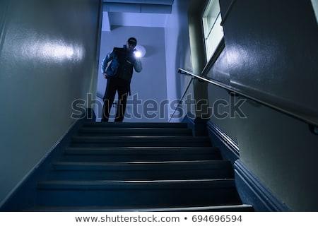警備員 · オフィス · 懐中電灯 · 1泊 · 建物 · 男 - ストックフォト © andreypopov