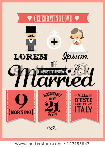 Házas vőlegény menyasszony esküvői meghívó vektor üdvözlet Stock fotó © robuart