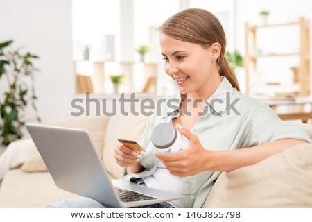 heureux · femme · plastique · carte · séduisant · jeune · femme - photo stock © pressmaster