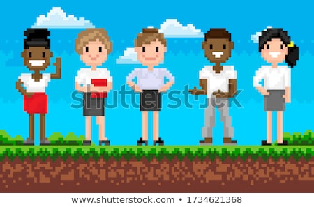 People Cooperation, Man and Woman, Pixel Vector Stock photo © robuart