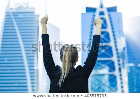 Сток-фото: молодые · красивая · женщина · стороны · высокий · Blue · Sky · трава