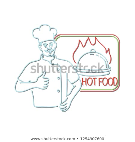 Chef Thumbs Up Hot Food Neon Sign Stock photo © patrimonio