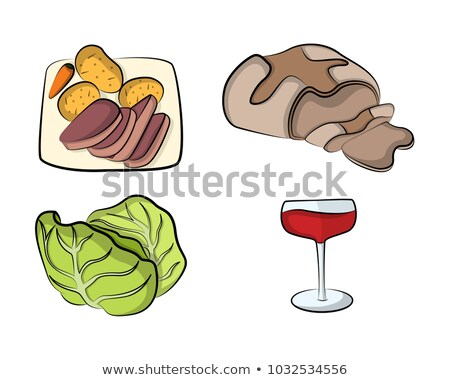 St Patrick Beef Cabbage Carrots Illustration Stock photo © lenm