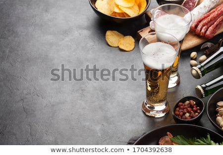 Stockfoto: Bier · gegrild · snacks · steen · top