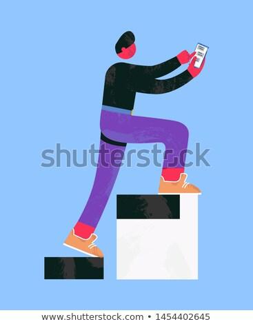 человека наверх набрав сообщение смартфон массаж Сток-фото © robuart