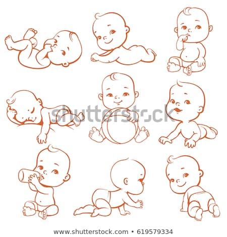 Nino jugando dormir bebé pañal vector Foto stock © robuart