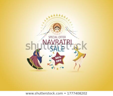 Poster design for Navaratri festival with goddess Stock photo © bluering