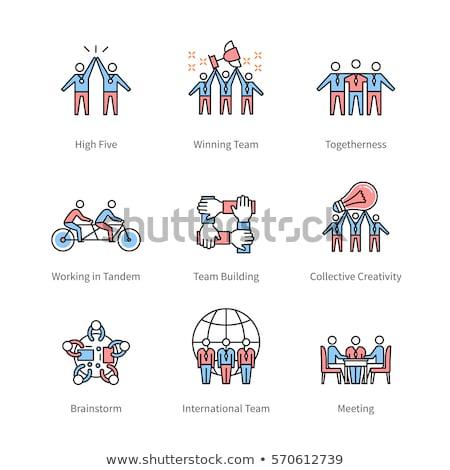 Internationale bedrijfsleven lijn ontwerp stijl call center Stockfoto © Decorwithme