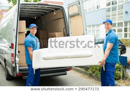 meubels · vrachtwagen · jonge · mannelijke · karton · dozen - stockfoto © andreypopov