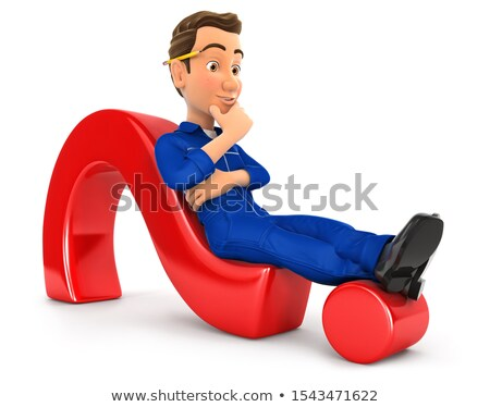 3d mechanic lying on question mark stock photo © 3dmask