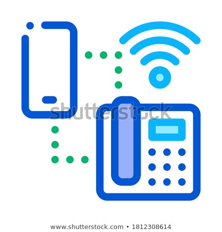 Smartphone and Home Telephone Wi-Fi Connection Icon Vector Outline Illustration Stock photo © pikepicture