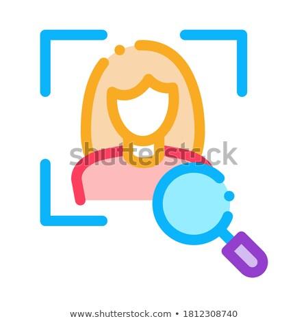 Nő arculat csekk ikon vektor skicc Stock fotó © pikepicture