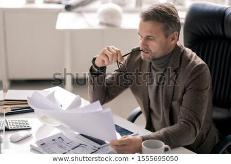 Ciddi yönetmen şirket mühendis bakıyor kağıtları Stok fotoğraf © pressmaster