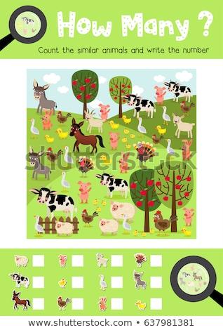 how many farm animals educational game for children Stock photo © izakowski