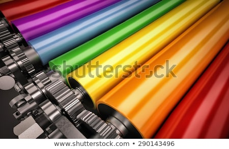 Stock fotó: Powerful Printing Press At Factory