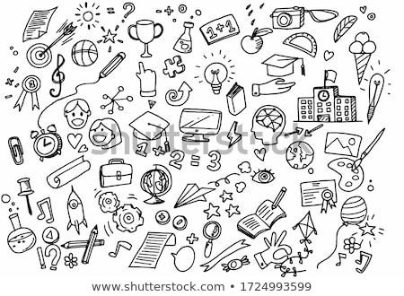 Kinderachtig doodle cute tekeningen gekleurd Stockfoto © zsooofija