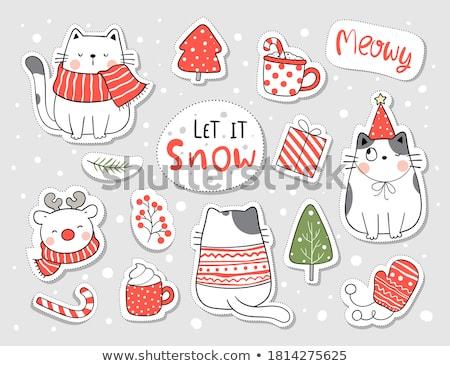 Kot portret christmas kartkę z życzeniami cartoon zimą Zdjęcia stock © liolle