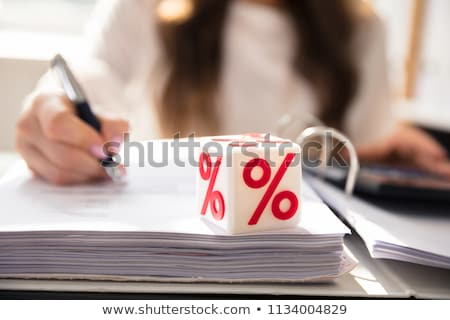 White Cubic Block With Red Percentage Symbol Stock photo © AndreyPopov