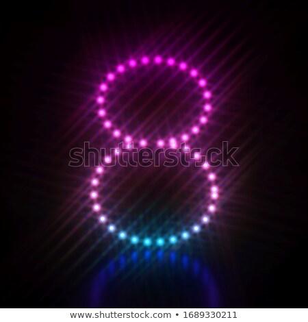 Rózsaszín kék pont fény betűtípus szám Stock fotó © djmilic