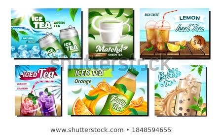 Té beber promoción publicidad banners establecer Foto stock © pikepicture