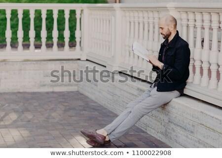 Geconcentreerde bebaarde mannelijke boek groot Stockfoto © vkstudio