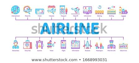 Légitársaság repülőtér minimális infografika szalag vektor Stock fotó © pikepicture