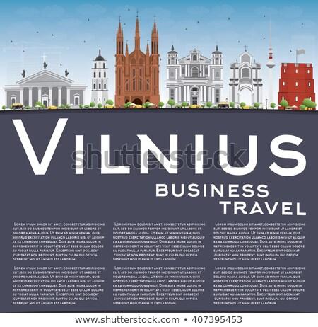 Vilnius sziluett szürke kék ég üzleti út turizmus Stock fotó © ShustrikS