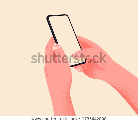 Hand holds the smartphone and touches the screen. Flat vector modern phone mock-up illustration Stock photo © karetniy