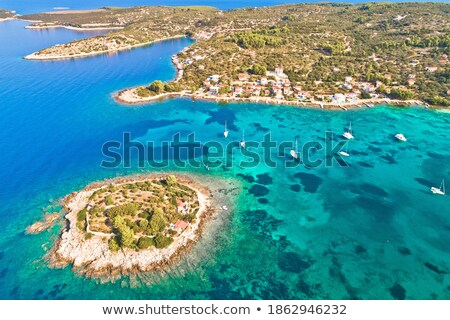 Aerial view of Gradina bay sailing cove on island Korcula Stock photo © xbrchx