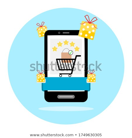 Online shopping. mobile phone with money, rating stars on modern background. Stock photo © natali_brill