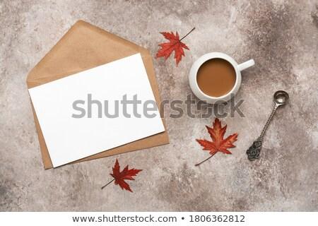 Jesienią klon pozostawia kopercie beżowy charakter Zdjęcia stock © dolgachov