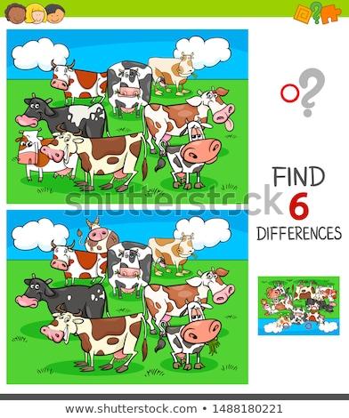 Diferencias educativo juego animales de granja Cartoon ilustración Foto stock © izakowski