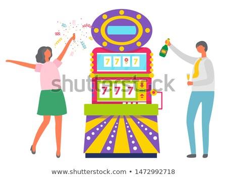 Woman Happy of Jackpot Winning Lady Game Machine Stock photo © robuart
