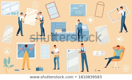 Pvc Window Frames Collection Icons Set Vector Stock photo © pikepicture
