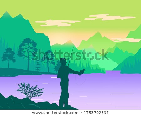 Man fishing at bank of river or lake, silhouette of man with fishing rod, hobby, leisure time Stock photo © robuart