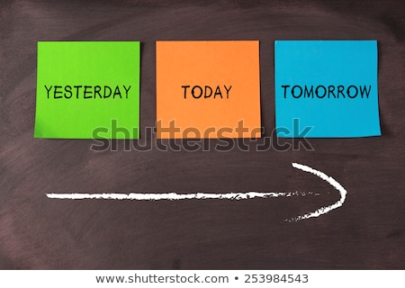 ma · tegnap · holnap · szavak · iskolatábla · idő - stock fotó © ansonstock