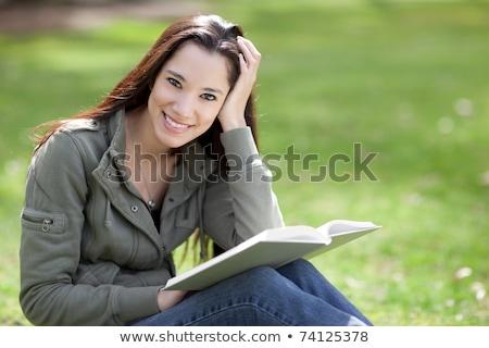 Сток-фото: молодые · родной · американский · женщину · чтение · портрет