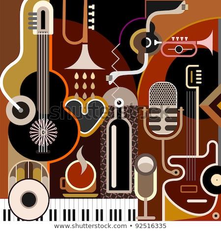 аннотация · Гранж · ретро · микрофона · коричневый · музыку - Сток-фото © pathakdesigner