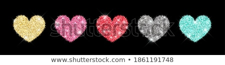 abstract glossy red hearts set Stock photo © pathakdesigner