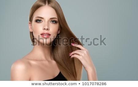 beleza · retrato · morena · modelo · saudável · cabelos · lisos - foto stock © hasloo
