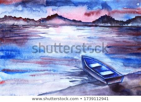 Niebieski złoty Świt żeglarstwo łodzi strona Zdjęcia stock © lunamarina