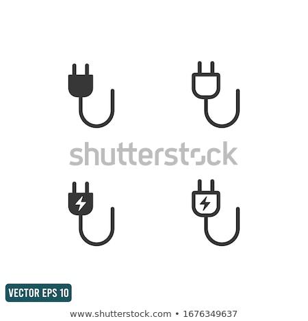 Poder cordão plugue preto tiro Foto stock © devon
