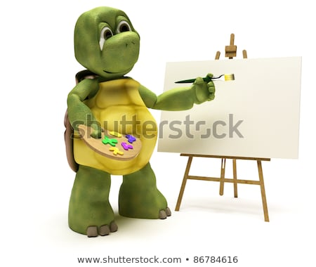 Tortoise With Easel And Paint Palette Stockfoto © Kjpargeter