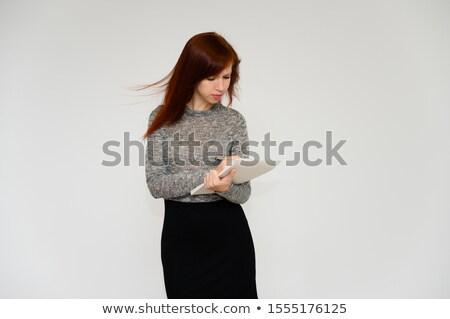 profesyonel · kadın · yazı · kırmızı · Klasör · beyaz - stok fotoğraf © stockyimages