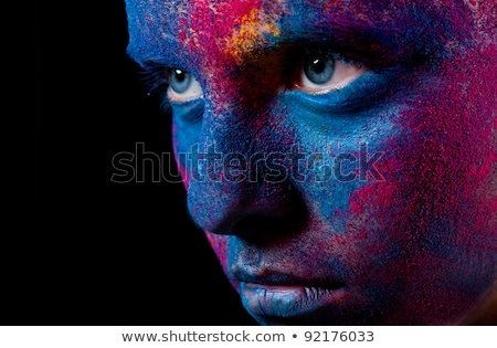 blue bodypainted woman Stock photo © prill