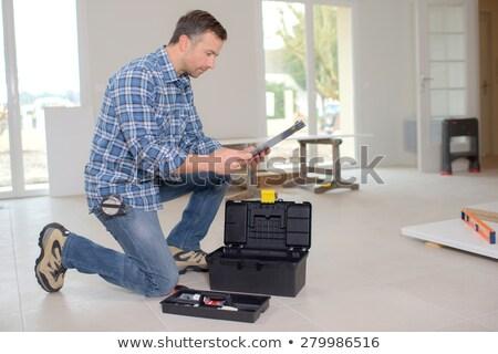 Arbeitnehmer Werkzeugkasten Lächeln Frauen Arbeit Modell Stock foto © photography33