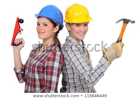 albañil · posando · herramientas · edificio · materiales · azul - foto stock © photography33