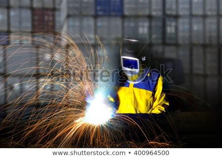 Laser soudage travail détail mains homme Photo stock © prill