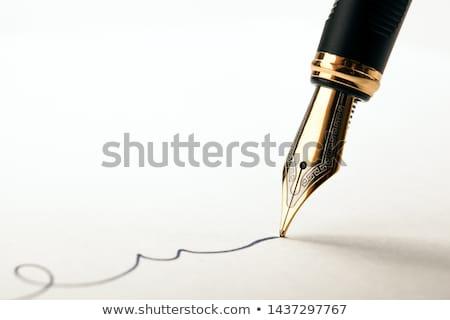 Vulpen witte papier exemplaar ruimte achtergrond metaal Stockfoto © Pietus